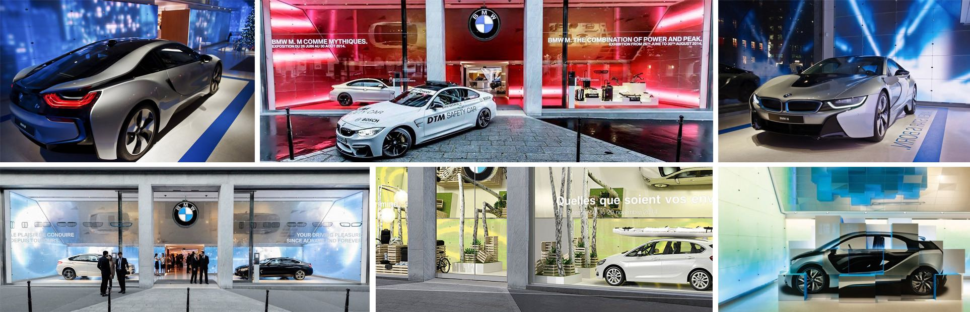 Vitrine Media-Wall digitalisée BMW