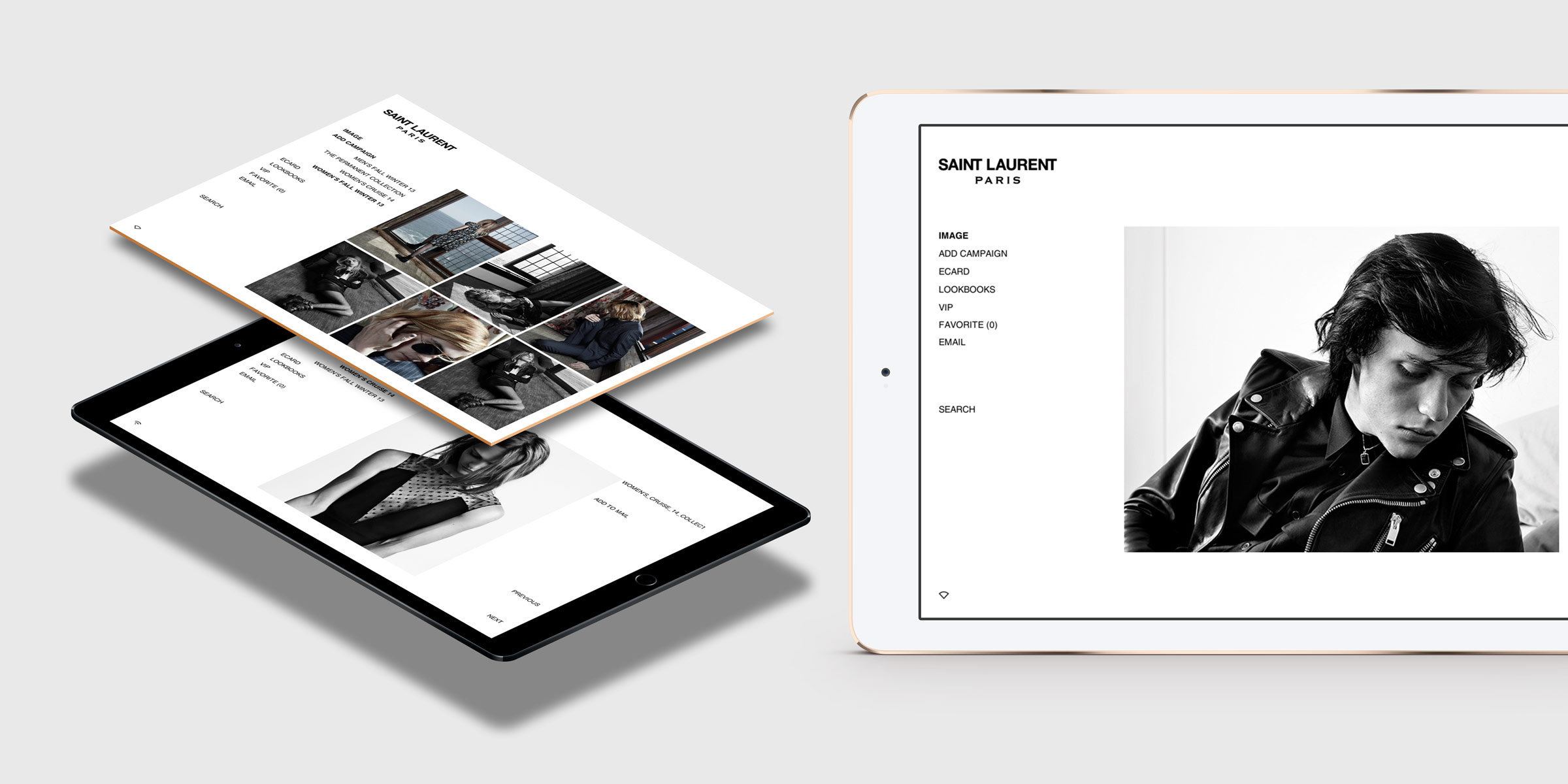 lookbook Saint Laurent tablette