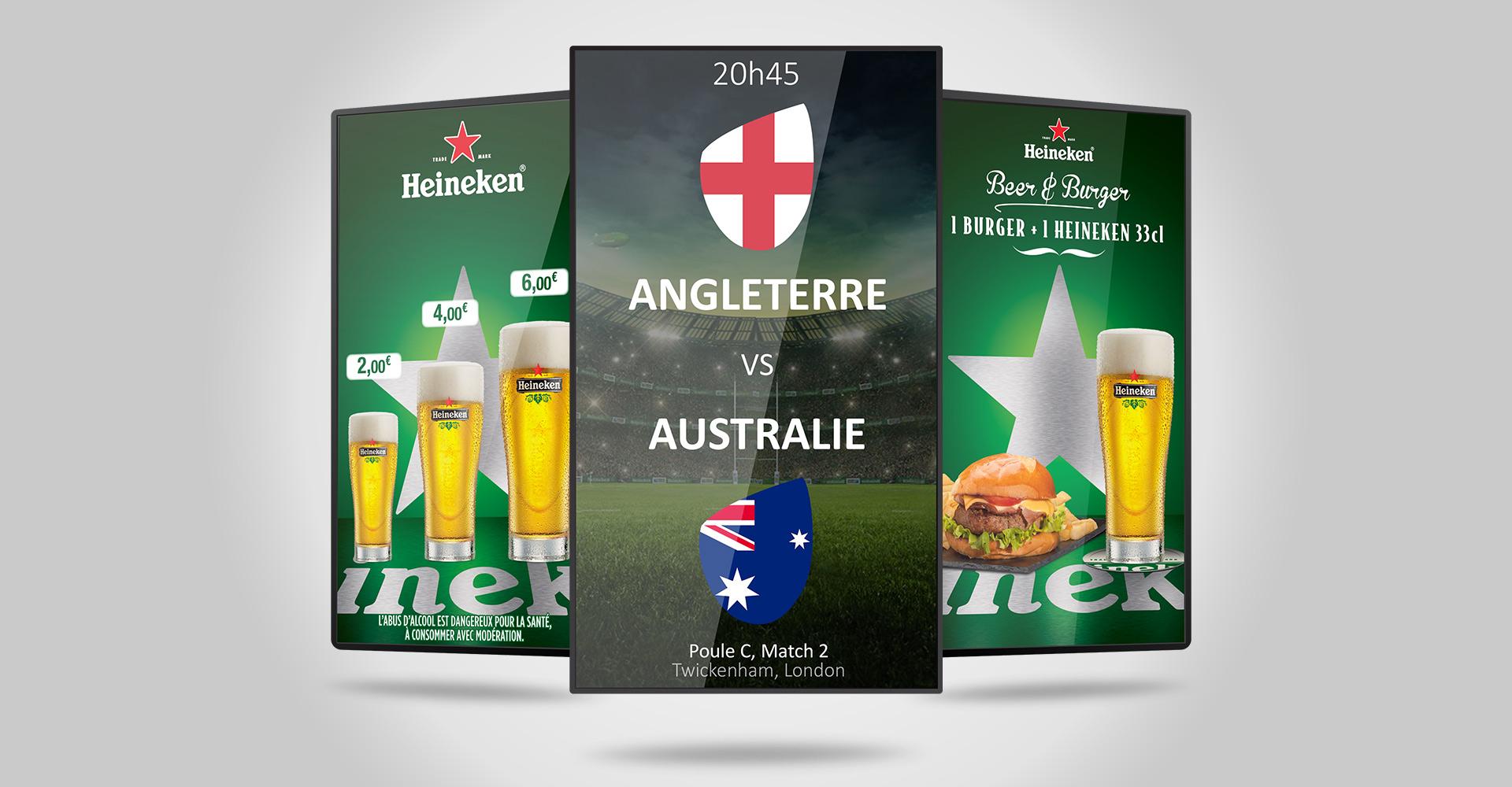 affichage dynamique en magasin Heineken